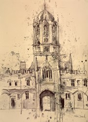 Town Tower, Christchurch College, Oxford by Tim Steward - Original Drawing, Paper on Board sized 22x30 inches. Available from Whitewall Galleries