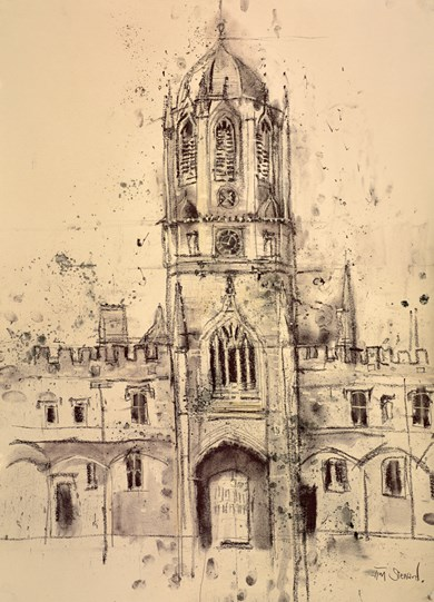 Town Tower, Christchurch College, Oxford by Tim Steward - Original Drawing, Paper on Board